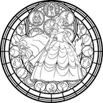 Belle Stained Glass: Vector -coloring page-