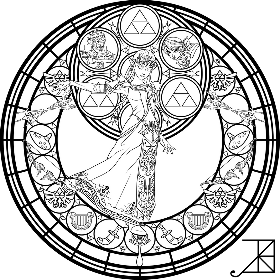 stained glass zelda coloring page by akili amethyst - Zelda Coloring Pages