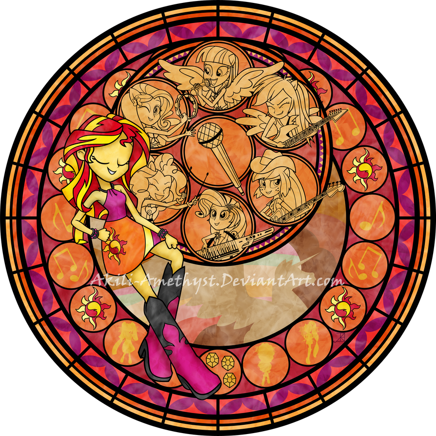 Stained Glass Rainbow Rocks By Akili Amethyst On Deviantart My Pony Equestria Rainbow Rocks Coloring Pages Dazzlings Printable