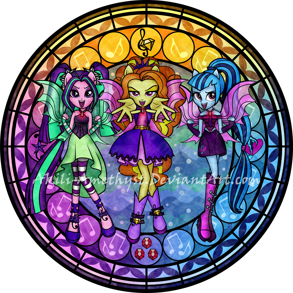 My Little Pony Dazzlings Coloring Pages. Stained Glass  Dazzlings by Akili Amethyst SG coloring Page on DeviantArt