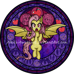 Stained Glass: Flutterbat by Akili-Amethyst