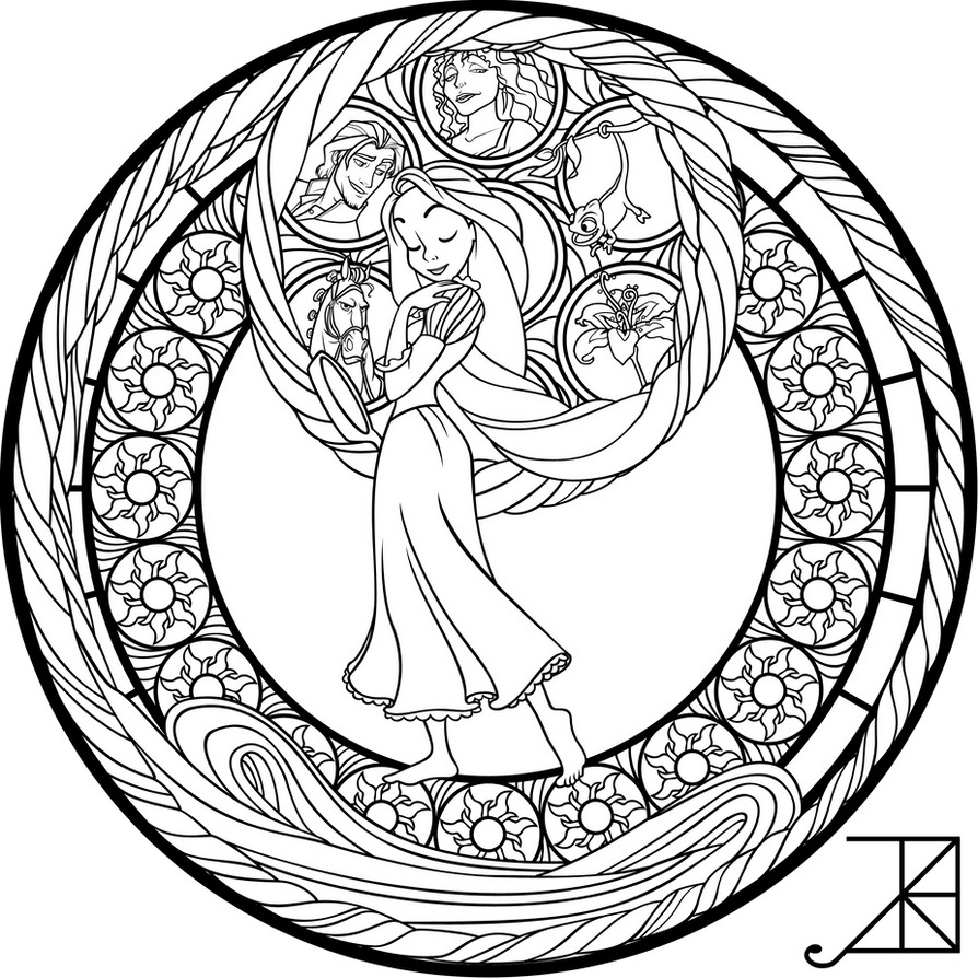 Sg Rapunzel Coloring Page By Akili Amethyst On Deviantart Stained Glass Disney Princess Free Coloring Sheets
