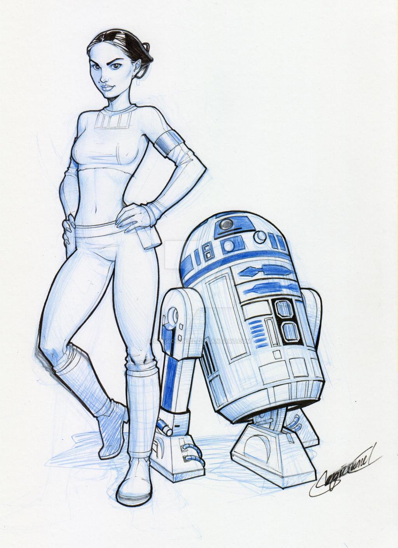 Star Wars: Padme w/ R2 by SergioCuriel
