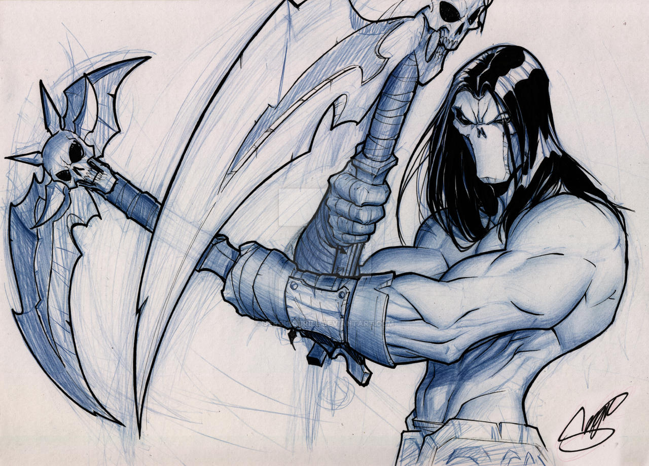 Darksiders II: Death (pencils and inks) by SergioCuriel