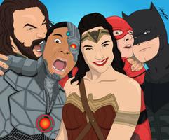 Aquaman, Cyborg, Wonder Woman, The Flash, Batman