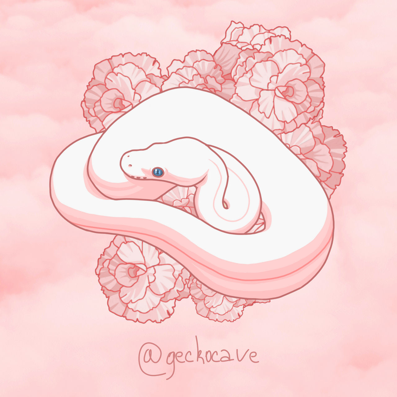 Blue Eyed Leucistic Ball Python Digital Drawing By Geckocavedesigns On Deviantart
