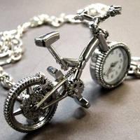 Bike Pocket Watch Necklace by Om-Society