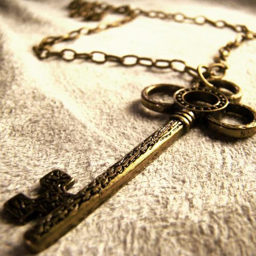 Antique Skeleton Key Necklace By Om