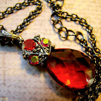 Ruby Crystal Drop Necklace by Om-Society