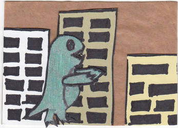 Hot Dino in the City by ScribbledMissives