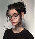girl glasses - study (test brush)
