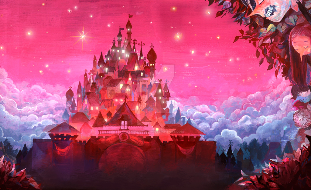 Pink castles under the pink sky, and a people neck by romantici5m