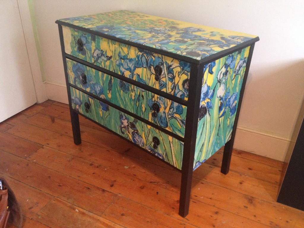 Decoupage Furniture Van Gogh Irises Chest 3 By Nova Lorsten On