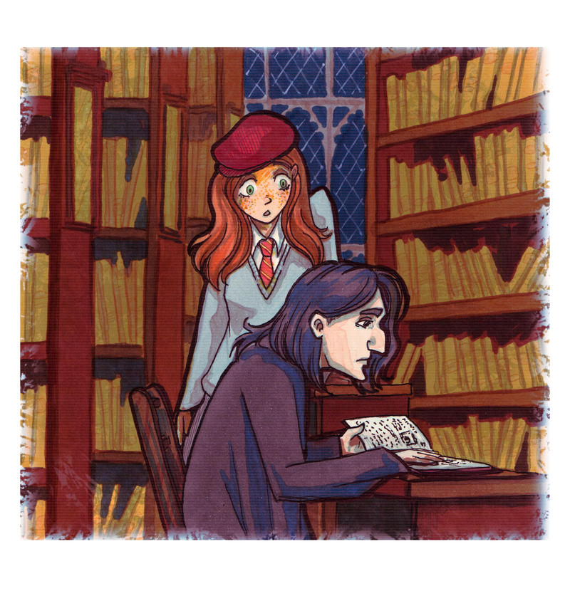 Snape and Lily at the library by Nisato