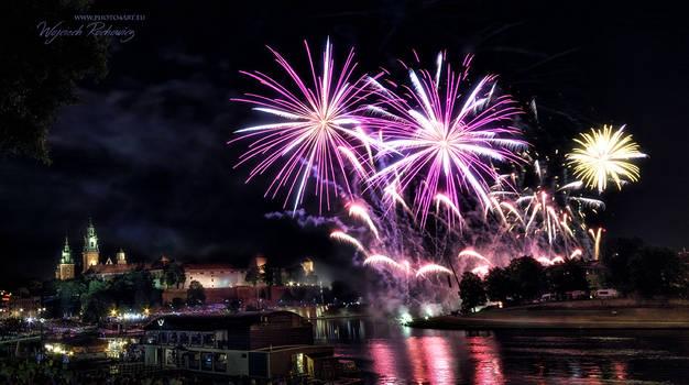 Castle Wawel with fireworks, Krakow, Poland
