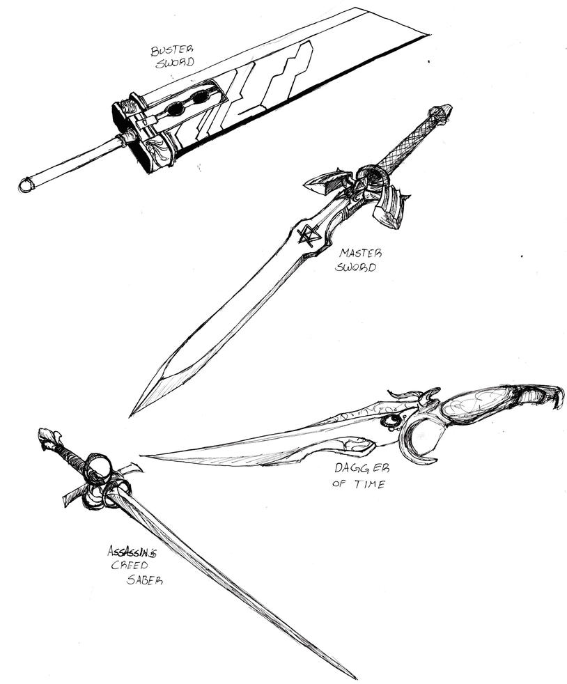 how to draw a roman sword