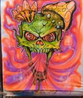 Trippy Airbrush Skull by vudumonkey25