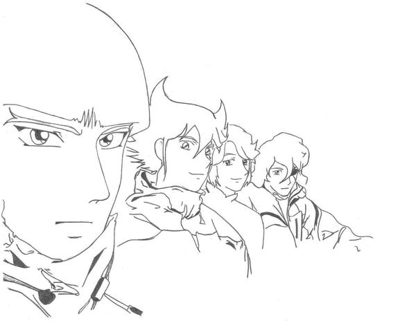 3/4 view of Warlord/Mashou's faces in casual wear.