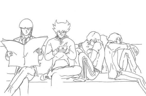 Warlords/Mashou sitting or sleeping while waiting for their plane.