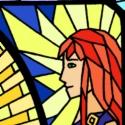La princesse des grenouilles, Azura, Seiren, Julianne, Echo et Aude. Paillettes sur vitrail.