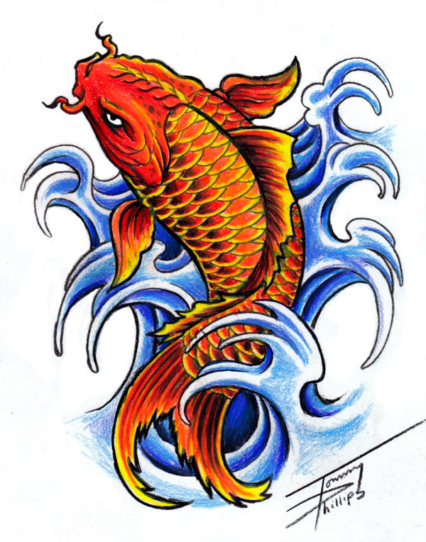 Koi fish design by tommyphillips on deviantart for Coy fish drawing