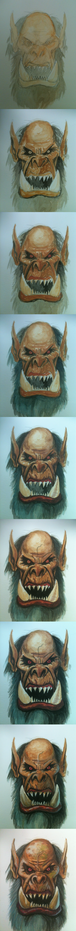 Practicing gouache - Gul'dan process by Bobibel