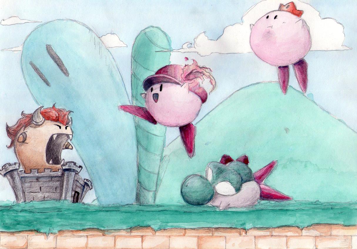 Kirby teams up to play Mario by Kokiri-kun