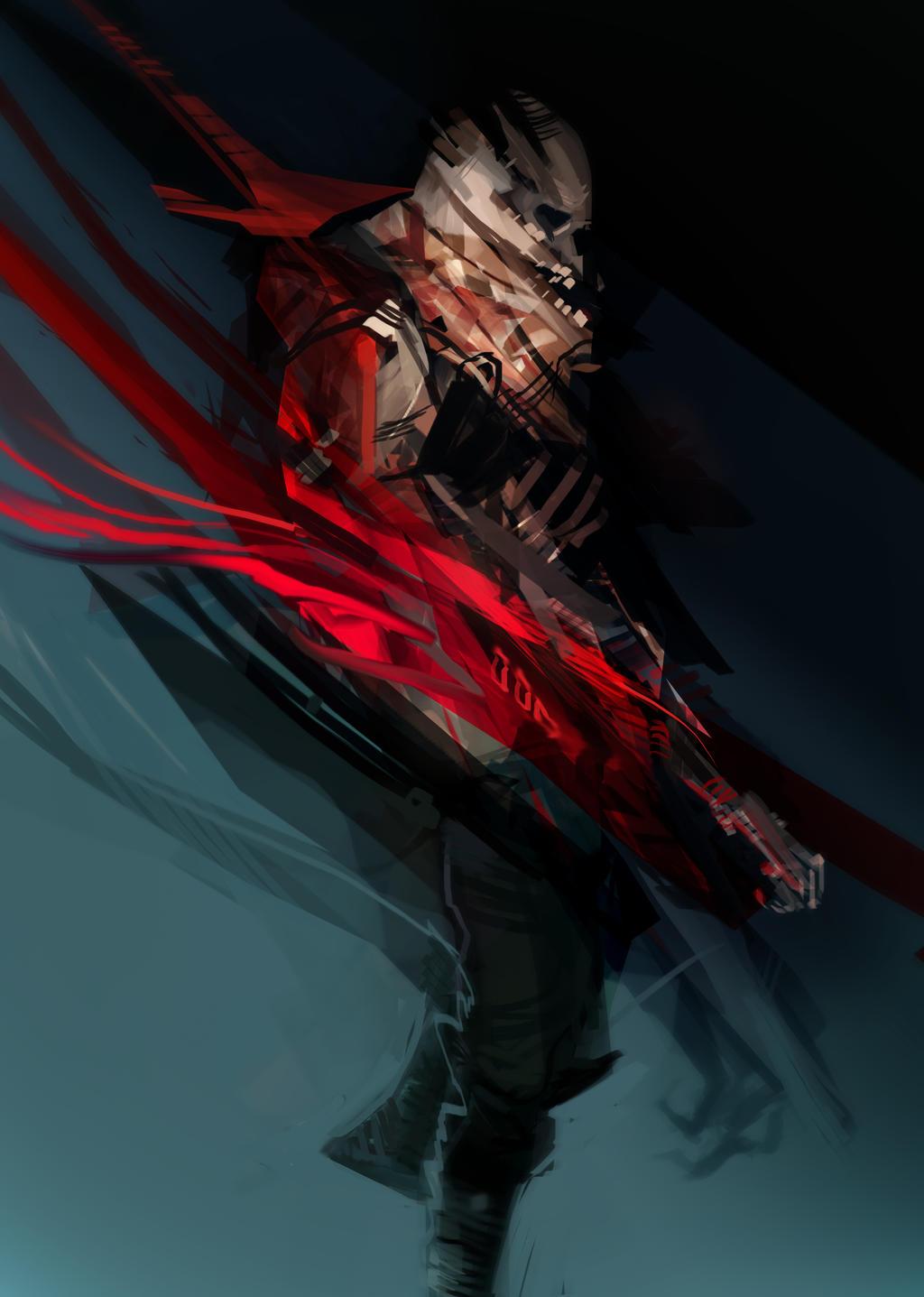 skullar abstractus - red + cyan by scrawlac