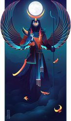 Khonsu ~ Egyptian Gods by Yliade