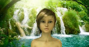 Girl at waterfall