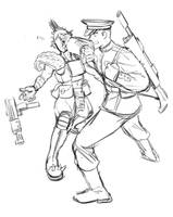 Pre-Heresy Mordian Dispatching A Gang Mercenary by earltheartist