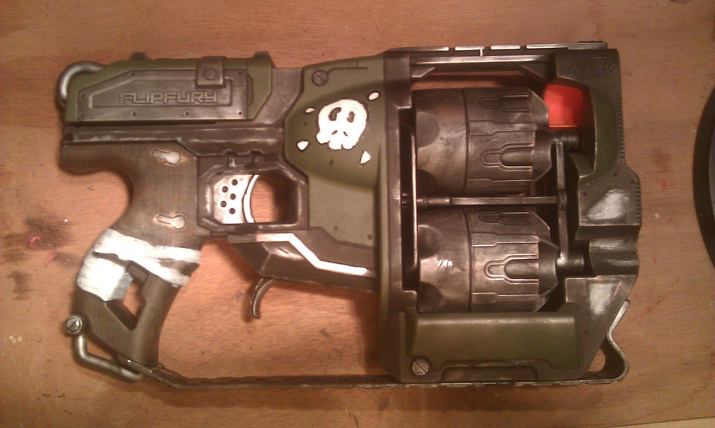 Licensed N-Strike ELITE Zombie Strike Flipfury Blaster Toy Gun with 24  Zombie Darts Refill