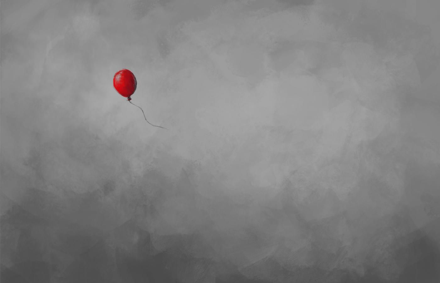 Red balloon wallpaper