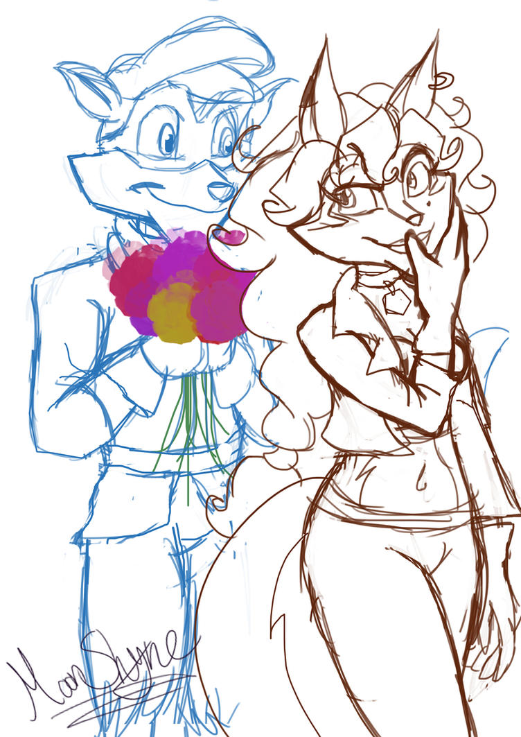 Digital Sketch: Flowers for a lovely cop by Moon-Shyne