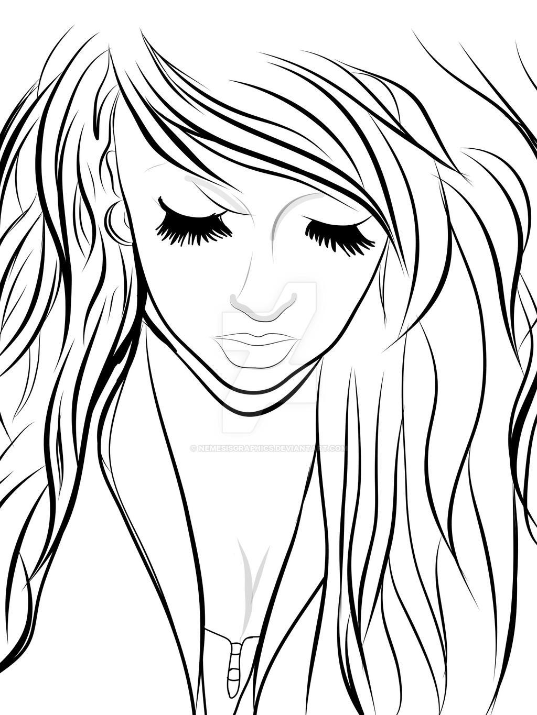 Line Drawing Girl : Hipster girl lineart by nemesisgraphics on deviantart