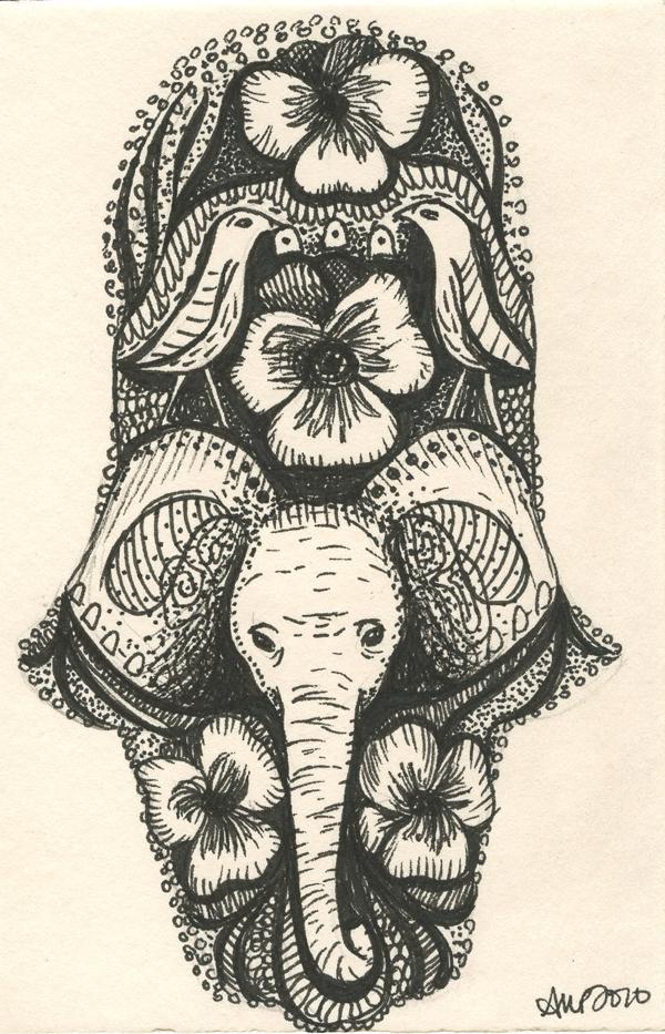 Elephant hamsa tattoo design by ashleighpopplewell on for Hamsa elephant tattoo