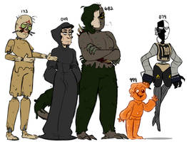 human SCP designs lineup by mk--doodle