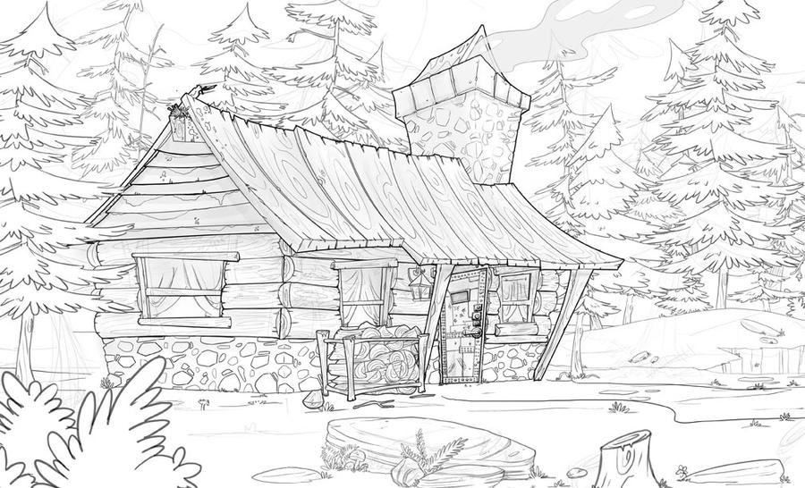 Old Log Cabins Coloring Pages Coloring Pages