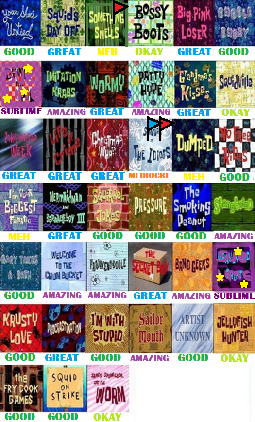 spongebob season 2 scorecard by guacola772 - Spongbob 2