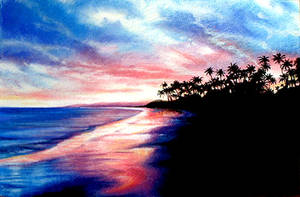 tropical island sunset...