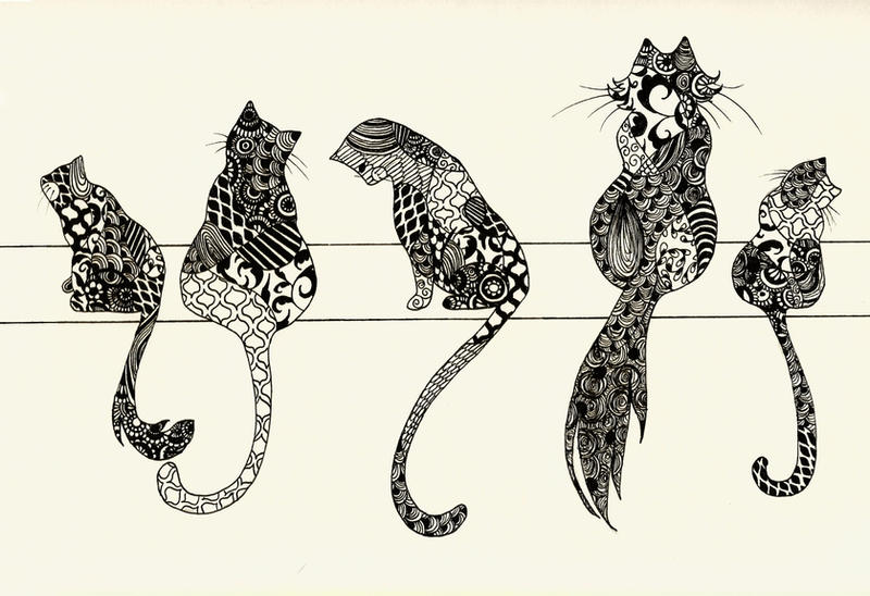 Zentangle Cats by AliceTerrarium