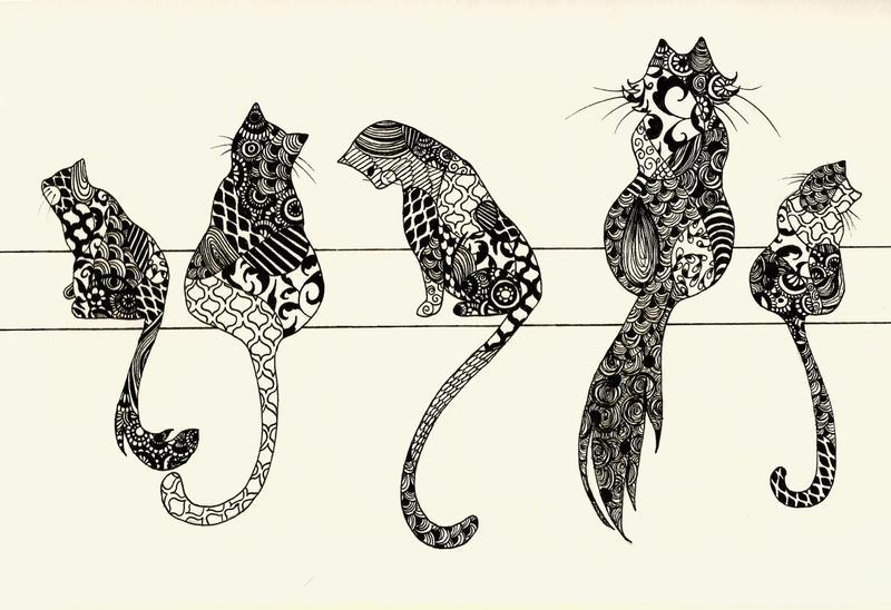 Zentangle Cats by AliceTerrarium