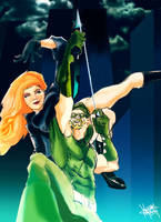 Green Arrow-Blk Canary by afromation