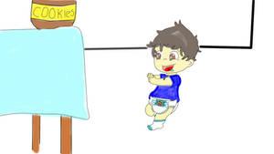 Alex running to the cookie jar.