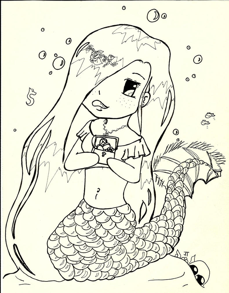 Mermaid Chibi coloring page by Elvaneyl on DeviantArt