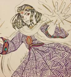 Inktober 7 - Human Sorceress by SakuraTenshi101