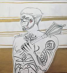 Inktober 6 - Half-Orc Monk