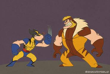 Wolverine VS Sabretooth Popeye VS Bluto