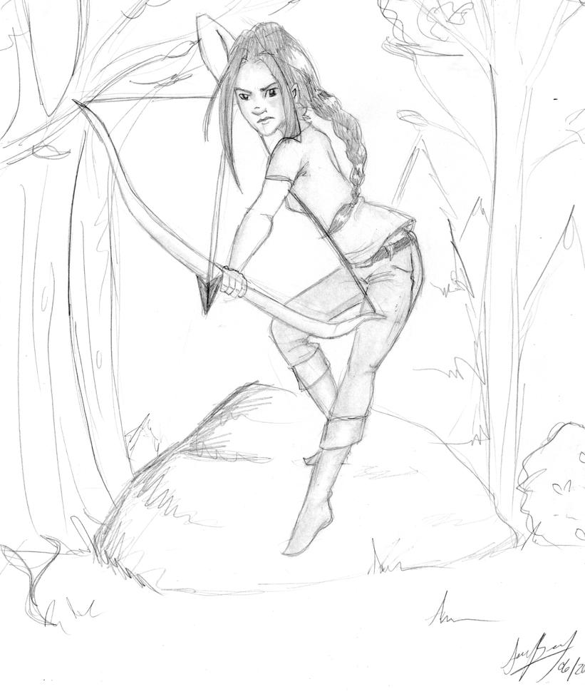 katniss hunting sketch by strummer on katniss hunting sketch by 0strummer
