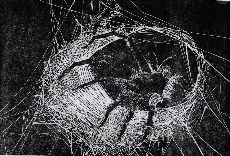Linocut Spider